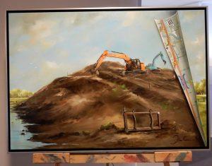 Schilderij Blêdzje troch de tiid (Large)