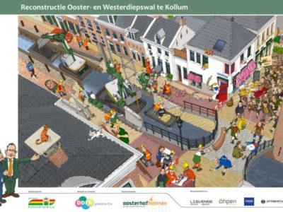 Cartoon Reconstructie Ooster en Westerdiepskade te Kollum